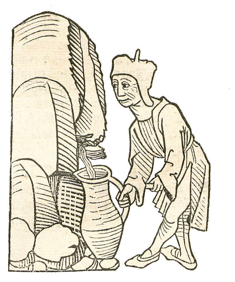 The Garden of Health - Natural History Encyclopedia by Jacob Maydenbach published in 1491. Image depicting the use of petroleum