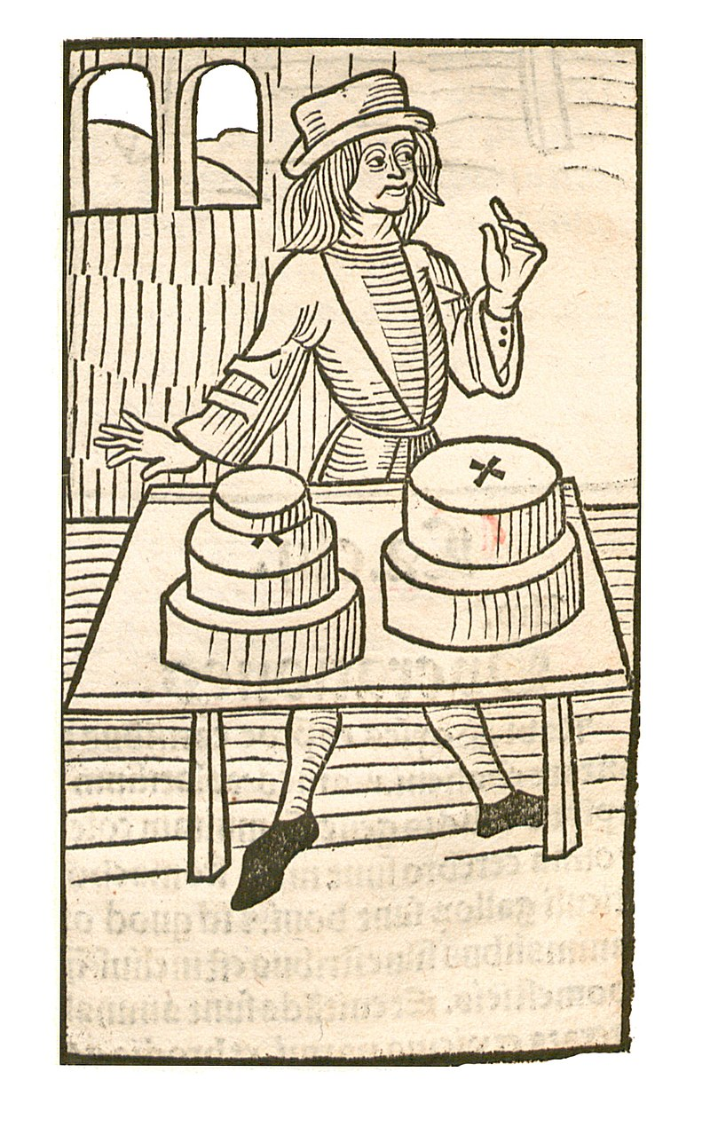 The Garden of Health - Natural History Encyclopedia by Jacob Maydenbach published in 1491. Image depicting the use of cheese.